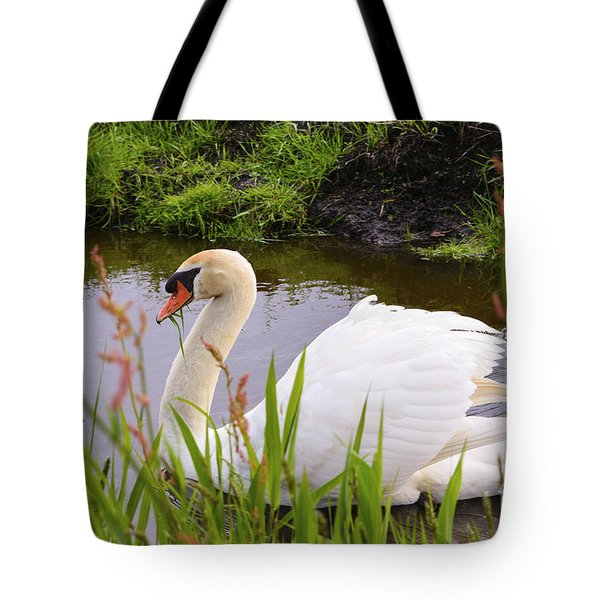 Swan In Water In Autumn Tote Bag