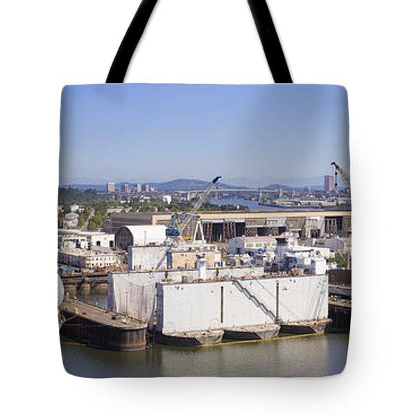 Swan Island Shipyard Panorama Tote Bag