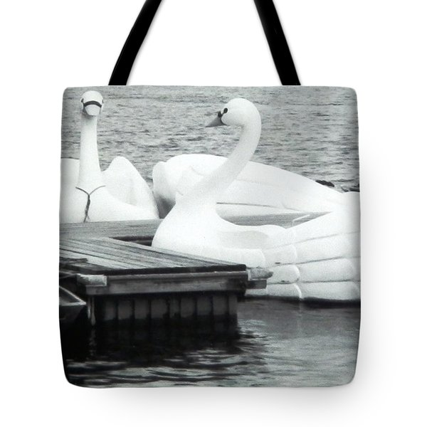 Tote Bag featuring the photograph White Swan Lake by Belinda Lee