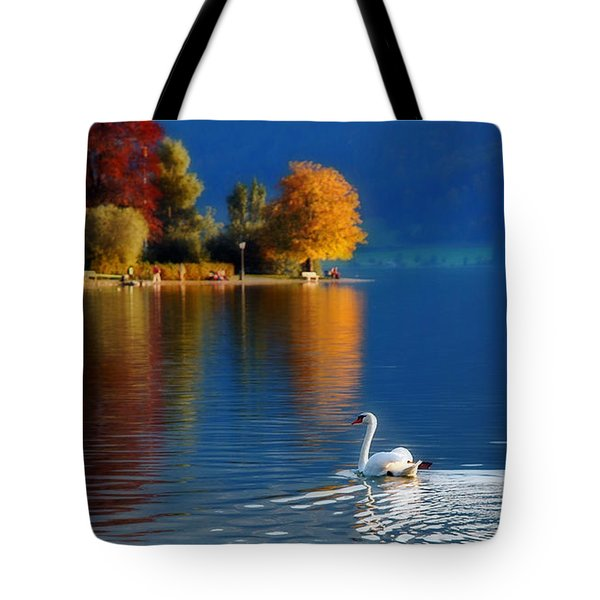Beautiful Autumn Swan At Lake Schiliersee Germany  Tote Bag