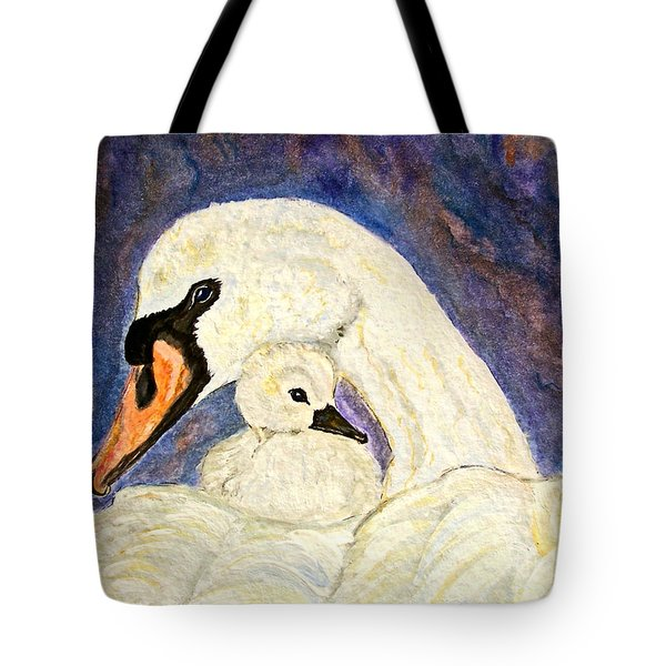 Tote Bag featuring the painting Mother's Love Swan And Baby Painting by Ella Kaye Dickey