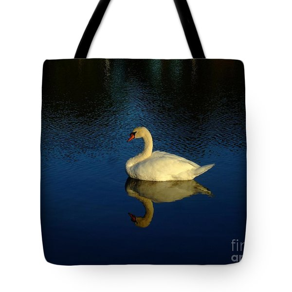 Tote Bag featuring the photograph Swan Reflection by Bob Sample