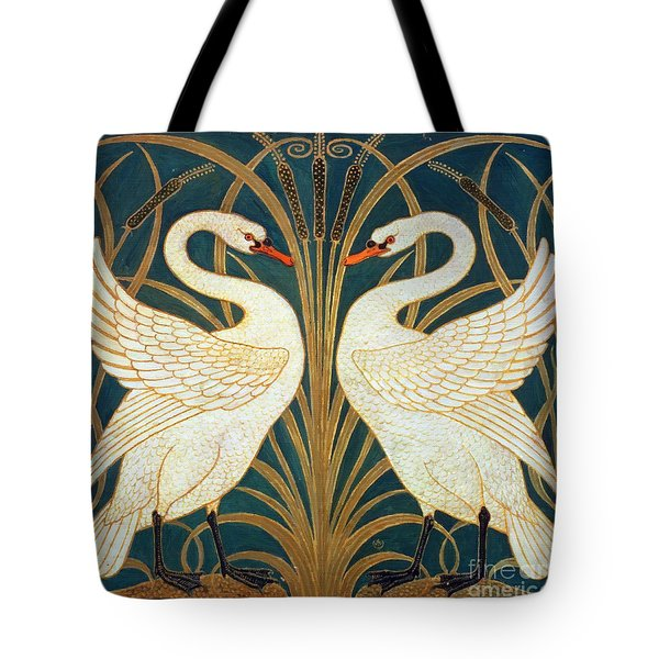Swan Rush And Iris Tote Bag by Walter Crane