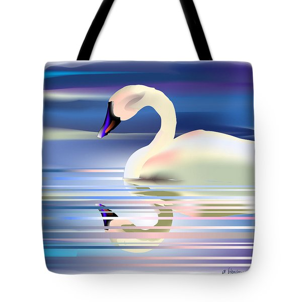 Tote Bag featuring the digital art Swan Song by Arline Wagner