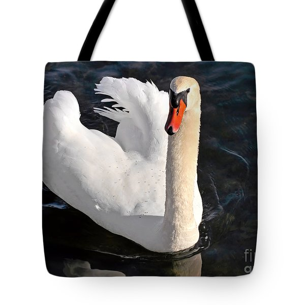 Swan With A Golden Neck Tote Bag by Susan Wiedmann