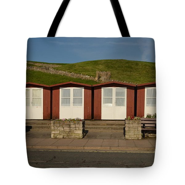 Swanage Beach Huts Tote Bag by Linsey Williams