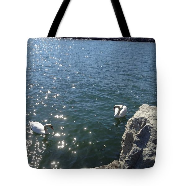 Swans And Sparkles Tote Bag by Pema Hou