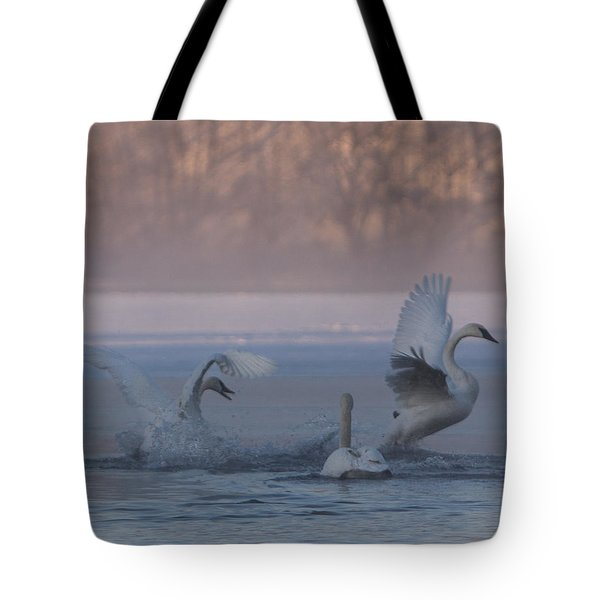 Tote Bag featuring the photograph Swans Chasing by Patti Deters