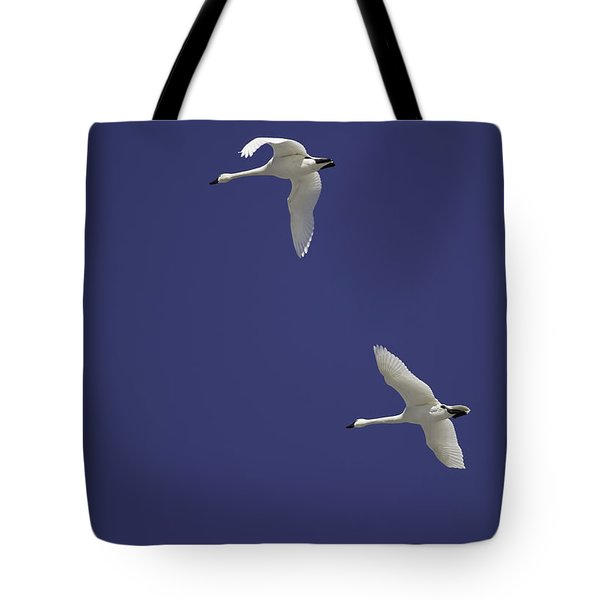 Swans Flying In Blue Skies Tote Bag