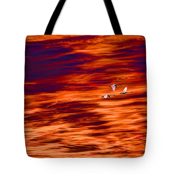 Swans Flying Tote Bag by Tommytechno Sweden