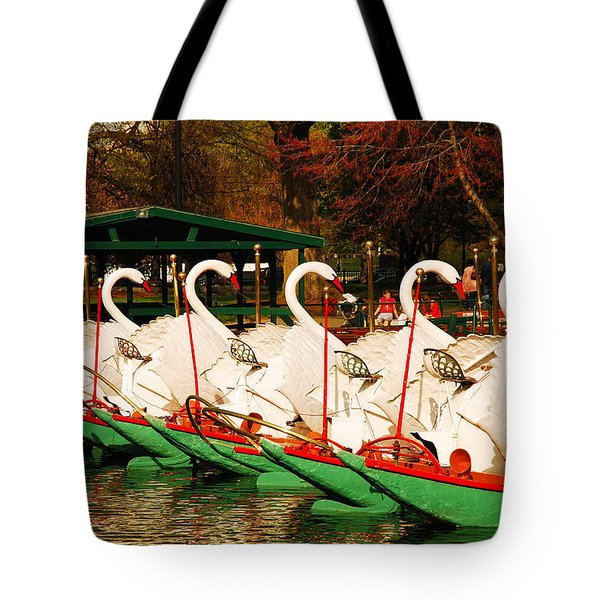 Swans In Boston Common Tote Bag by James Kirkikis