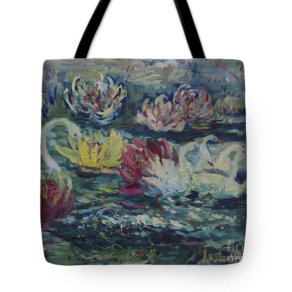 Tote Bag featuring the painting Swans In Lilies  by Avonelle Kelsey