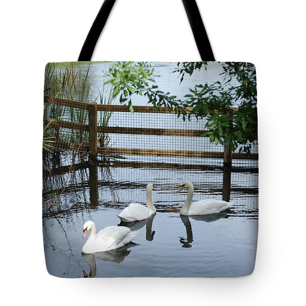 Swans In The Pond Tote Bag