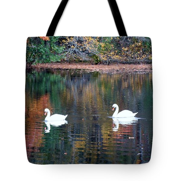 Tote Bag featuring the photograph Swans by Karen Silvestri