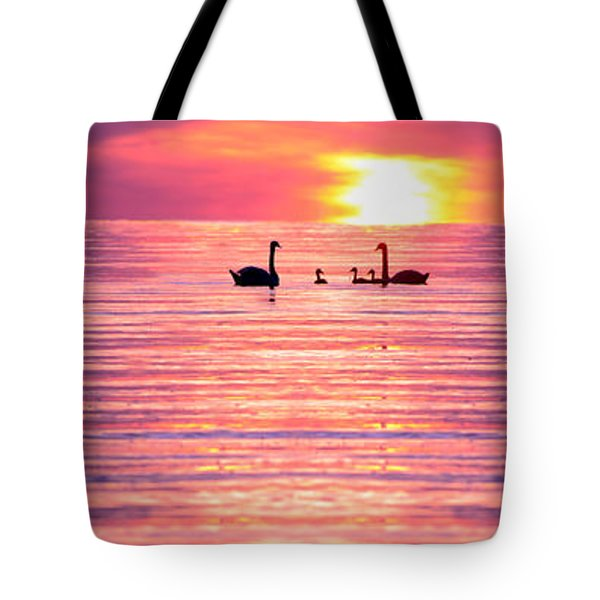 Swans On The Lake Tote Bag by Jon Neidert