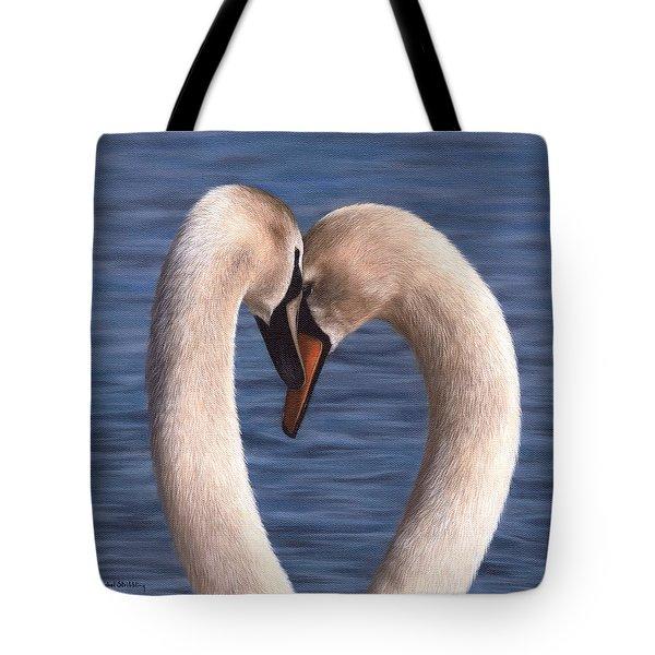 Swans Painting Tote Bag by Rachel Stribbling
