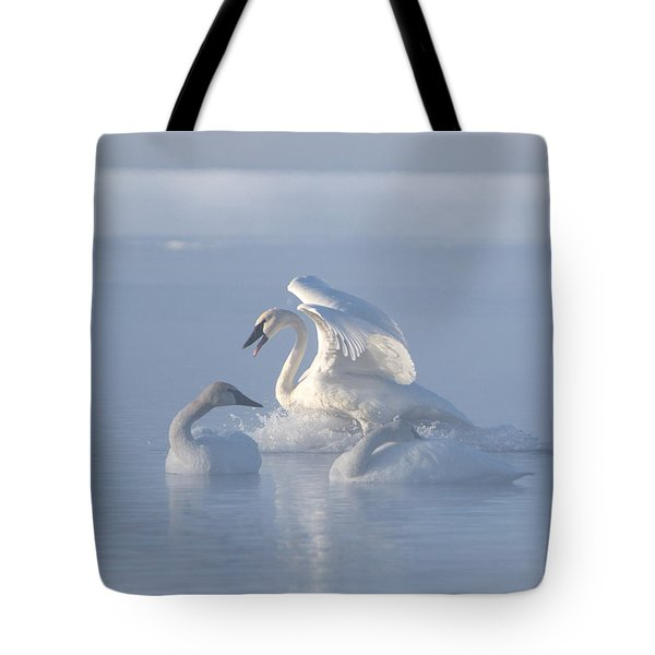 Tote Bag featuring the photograph Trumpeter Swans - Three's Company by Patti Deters