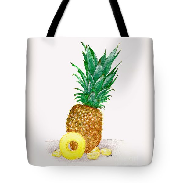 Sweet Hawaiian Pineapple Illustration Tote Bag by Nan Wright