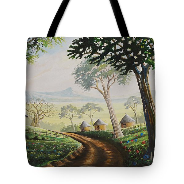 Tote Bag featuring the painting Sweet Home by Anthony Mwangi