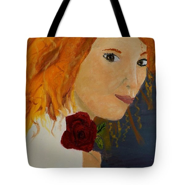 Sweet Lady Holding A Rose Tote Bag by Pamela  Meredith