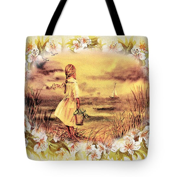 Tote Bag featuring the painting Sweet Memories A Trip To The Shore by Irina Sztukowski