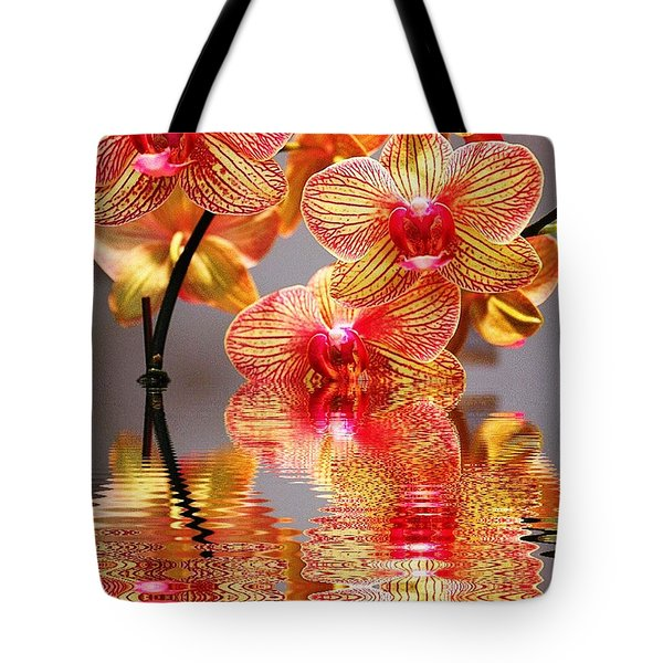 Sweet Orchid Reflection Tote Bag by Judy Palkimas
