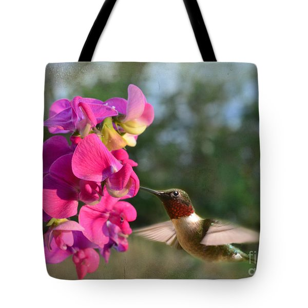 Sweet Pea Hummingbird Tote Bag by Debbie Portwood