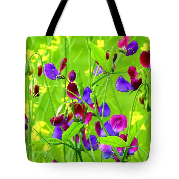Tote Bag featuring the photograph Sweet Peas by Byron Varvarigos