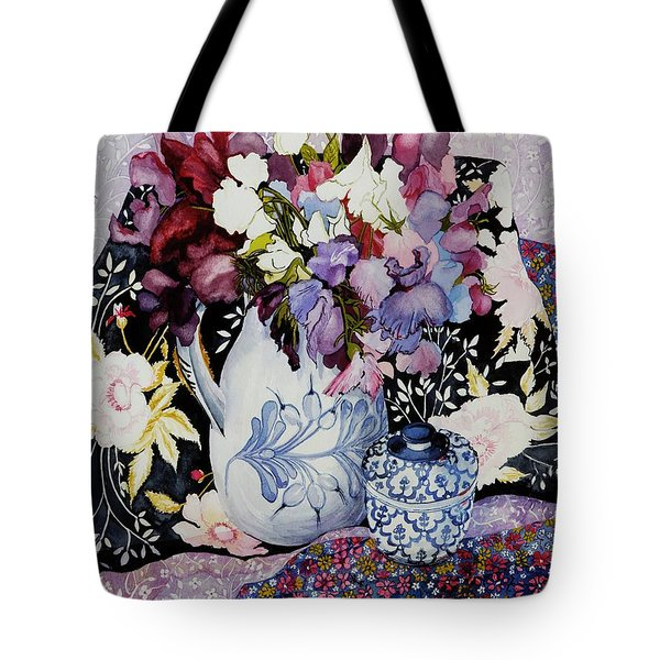 Sweet Peas In A Blue And White Jug With Blue And White Pot And Textiles  Tote Bag by Joan Thewsey