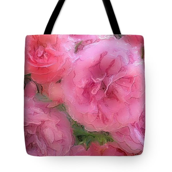 Tote Bag featuring the mixed media Sweet Pink Roses  by Gabriella Weninger - David