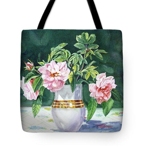 Sweet Tea Roses Bouquet Tote Bag