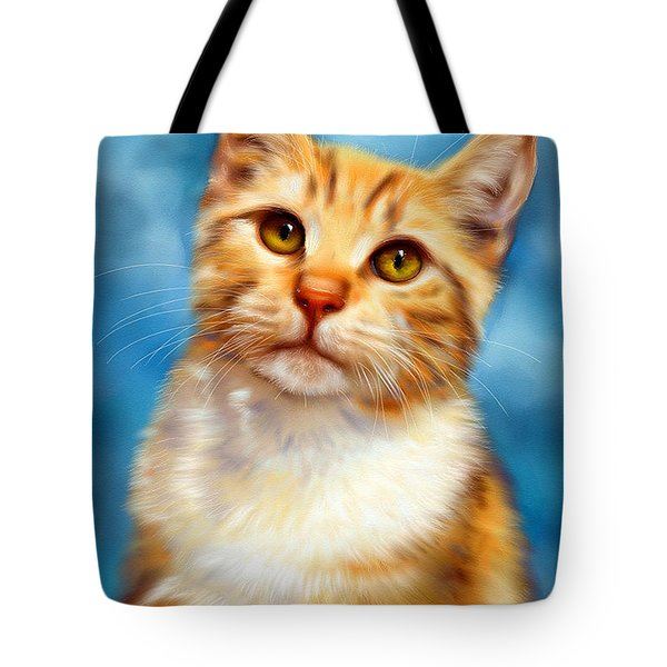 Sweet William Orange Tabby Cat Painting Tote Bag