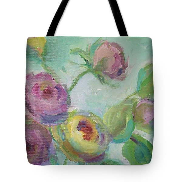 Tote Bag featuring the painting Sweetness Floral Painting by Mary Wolf
