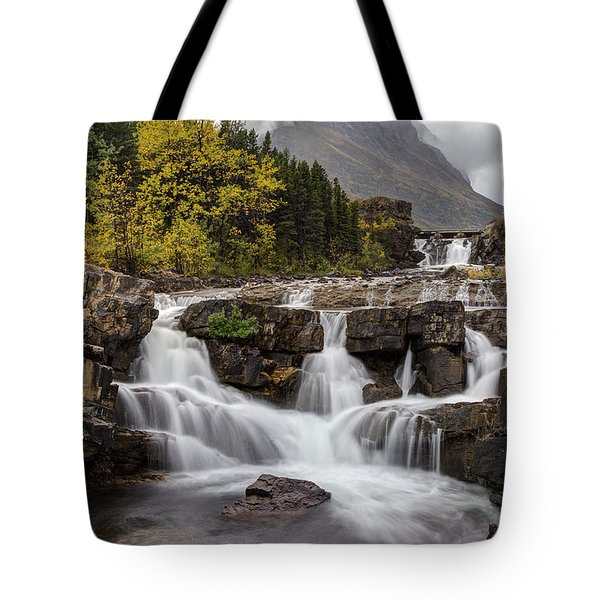 Swiftcurrent Falls In Autumn Tote Bag
