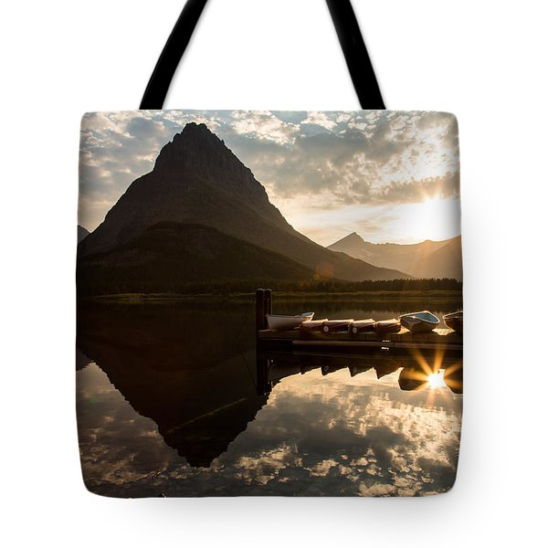 Swiftcurrent Lake Boats Reflection And Flare Tote Bag