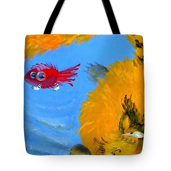Swimming Of A Yellow Cat Tote Bag by Marina Gnetetsky