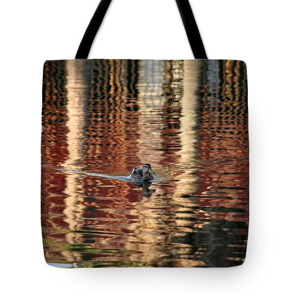 Swimming Over Reflections Tote Bag