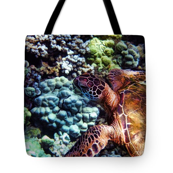 Swimming With A Sea Turtle Tote Bag by Peggy Hughes