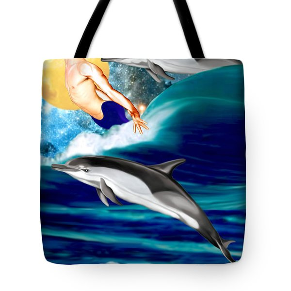 Swimming With Dolphins Tote Bag