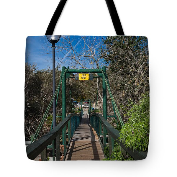 Swing Bridge In A Forest, Arroyo Tote Bag