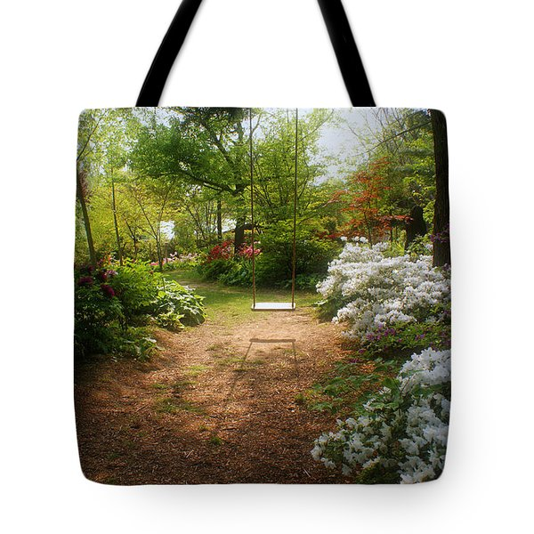 Swing In The Garden Tote Bag by Sandy Keeton