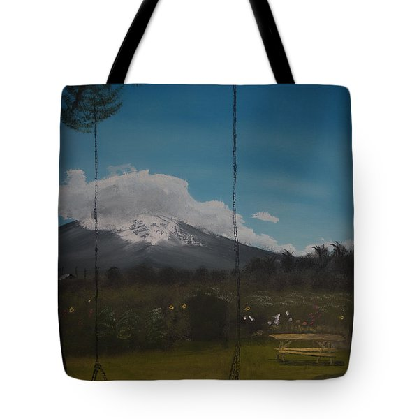 Tote Bag featuring the painting Swing On Mt Hoods Fruit Loop by Ian Donley