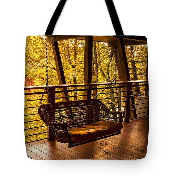 Swinging In Autumn Trees Original Photograph Tote Bag by Jerry Cowart