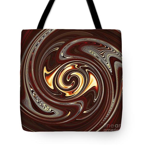 Swirl Design On Brown Tote Bag by Sarah Loft