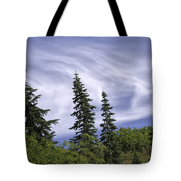 Swirling Clouds Crooked Trees Tote Bag