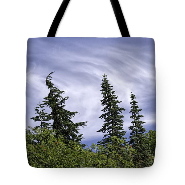 Swirling Clouds Crooked Trees Tote Bag by Sharon Seaward