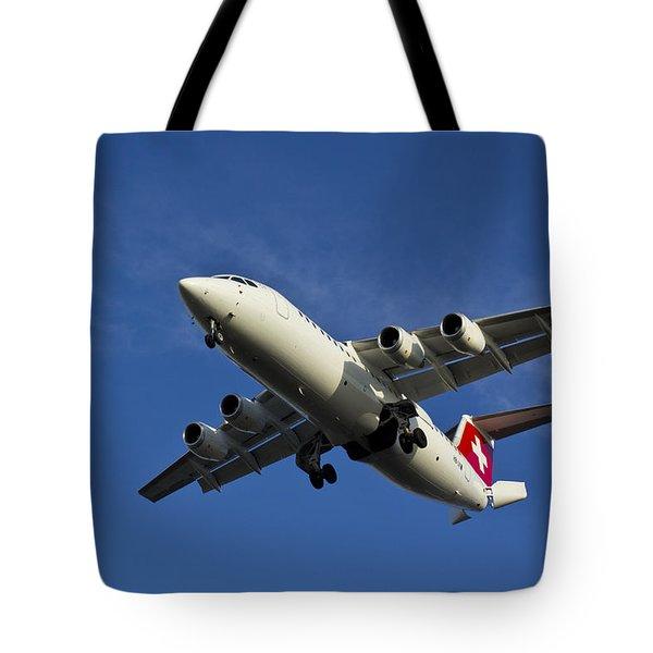 Swiss Air Bae 146 Tote Bag by David Pyatt