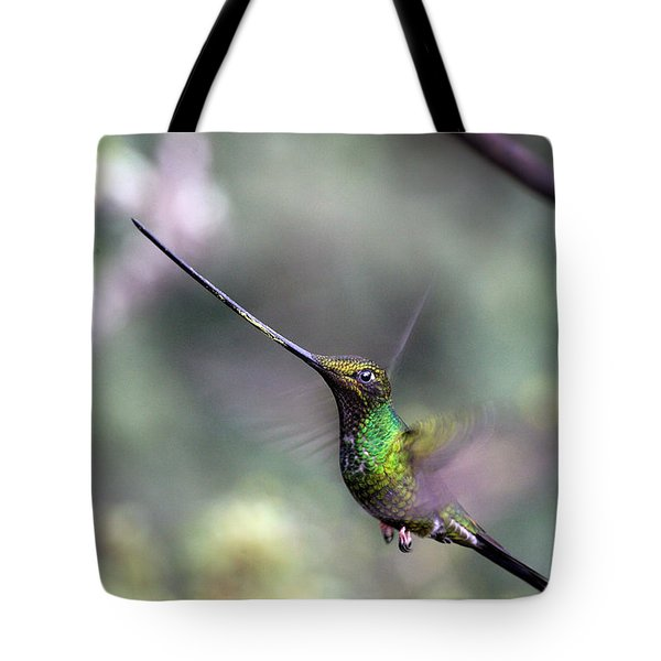 Sword-billed Hummingbird Hovering Ecuador Tote Bag