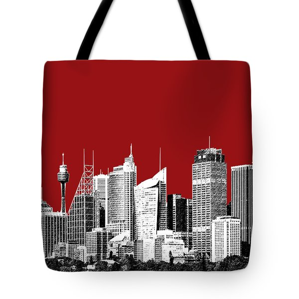 Sydney Skyline 1 - Dark Red Tote Bag