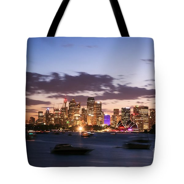 Sydney Skyline At Dusk Australia Tote Bag